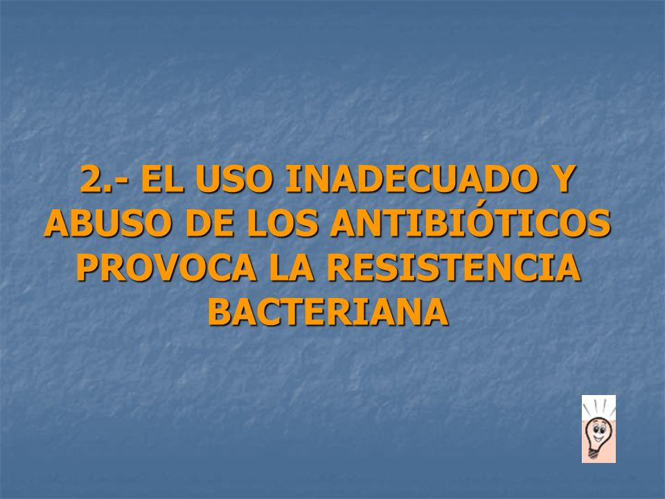 2.- EL USO INADECUADO Y ABUSO DE LOS ANTIBIÓTICOS PROVOCA LA RESISTENCIA BACTERIANA