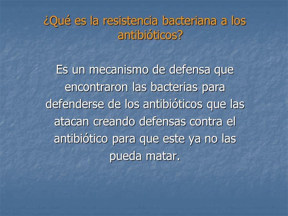 ¿Qué es la resistencia bacteriana a los antibióticos? Es un mecanismo de defensa que encontraron las bacterias para defenderse de los antibióticos que
