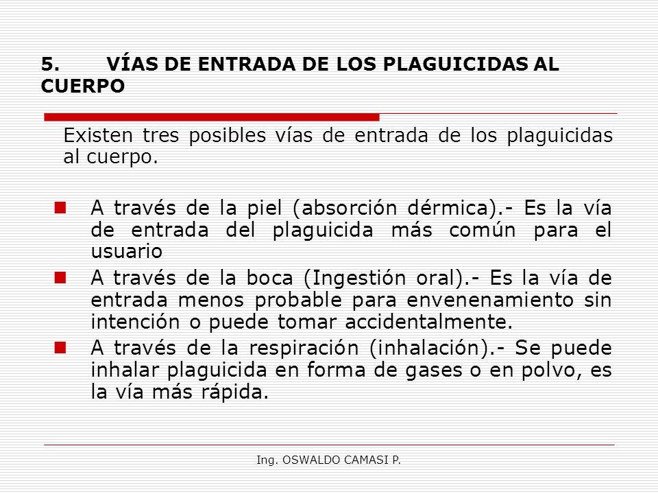 Ing. OSWALDO CAMASI P. 5.VÍAS DE ENTRADA DE LOS PLAGUICIDAS AL CUERPO Existen tres posibles vías de entrada de los plaguicidas al cuerpo. A través de