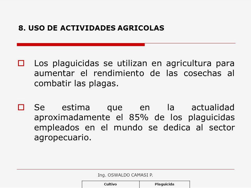 Ing. OSWALDO CAMASI P. 8. USO DE ACTIVIDADES AGRICOLAS Los plaguicidas se utilizan en agricultura para aumentar el rendimiento de las cosechas al comb