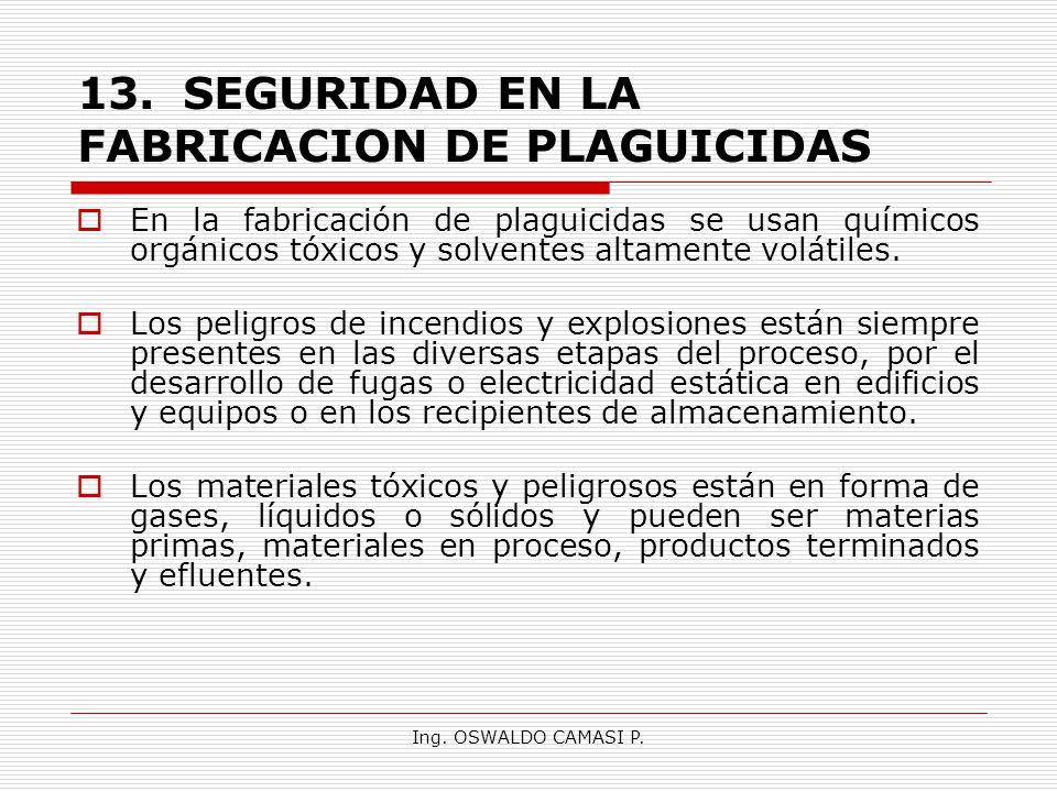 Ing. OSWALDO CAMASI P. 13.SEGURIDAD EN LA FABRICACION DE PLAGUICIDAS En la fabricación de plaguicidas se usan químicos orgánicos tóxicos y solventes a