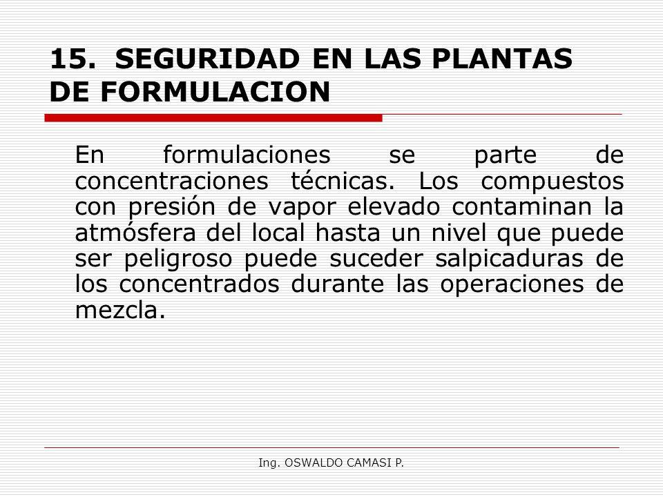 Ing. OSWALDO CAMASI P. 15.SEGURIDAD EN LAS PLANTAS DE FORMULACION En formulaciones se parte de concentraciones técnicas. Los compuestos con presión de