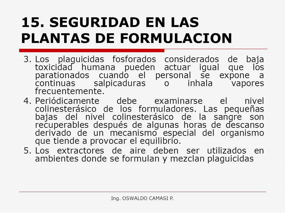 Ing. OSWALDO CAMASI P. 15.SEGURIDAD EN LAS PLANTAS DE FORMULACION 3.Los plaguicidas fosforados considerados de baja toxicidad humana pueden actuar igu