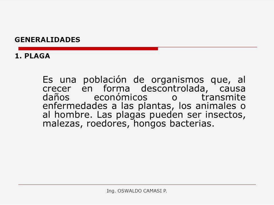 Ing. OSWALDO CAMASI P. GENERALIDADES 1. PLAGA Es una población de organismos que, al crecer en forma descontrolada, causa daños económicos o transmite