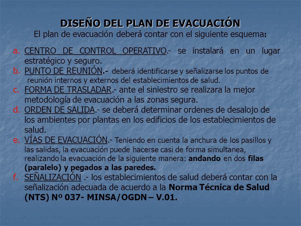 DISEÑO DEL PLAN DE EVACUACIÓN El plan de evacuación deberá contar con el siguiente esquema : a.CENTRO DE CONTROL OPERATIVO.- se instalará en un lugar estratégico y seguro.