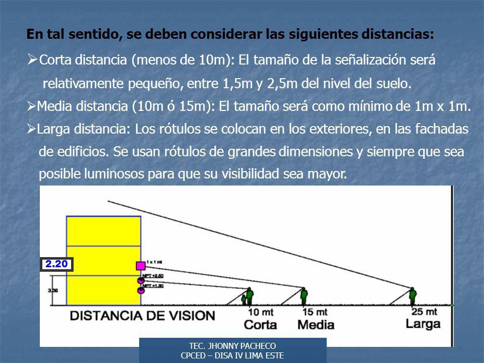 Autor: Didier Sibaja Descarga ofrecida por: www.prevention-world.com En tal sentido, se deben considerar las siguientes distancias: Corta distancia (menos de 10m): El tamaño de la señalización será relativamente pequeño, entre 1,5m y 2,5m del nivel del suelo.