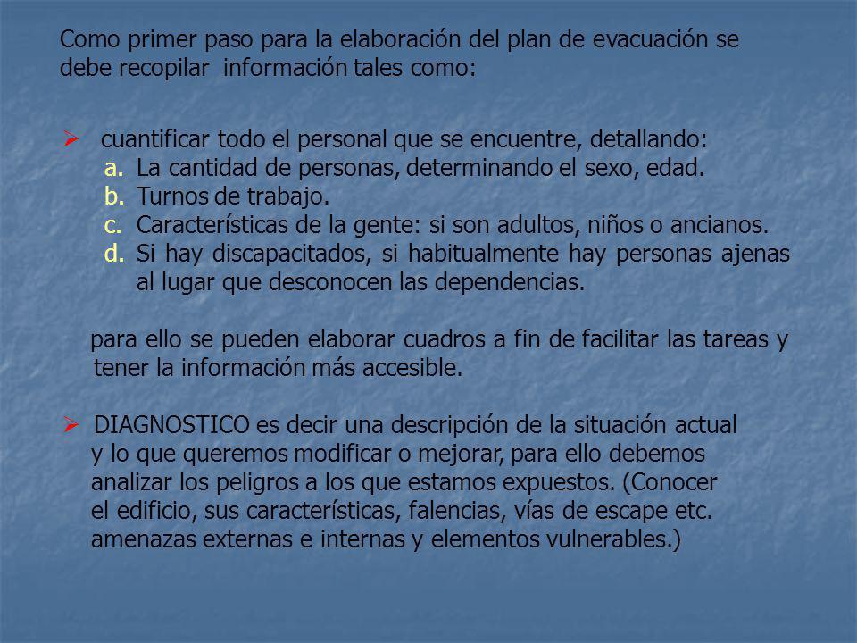 Como primer paso para la elaboración del plan de evacuación se debe recopilar información tales como: cuantificar todo el personal que se encuentre, detallando: a.La cantidad de personas, determinando el sexo, edad.