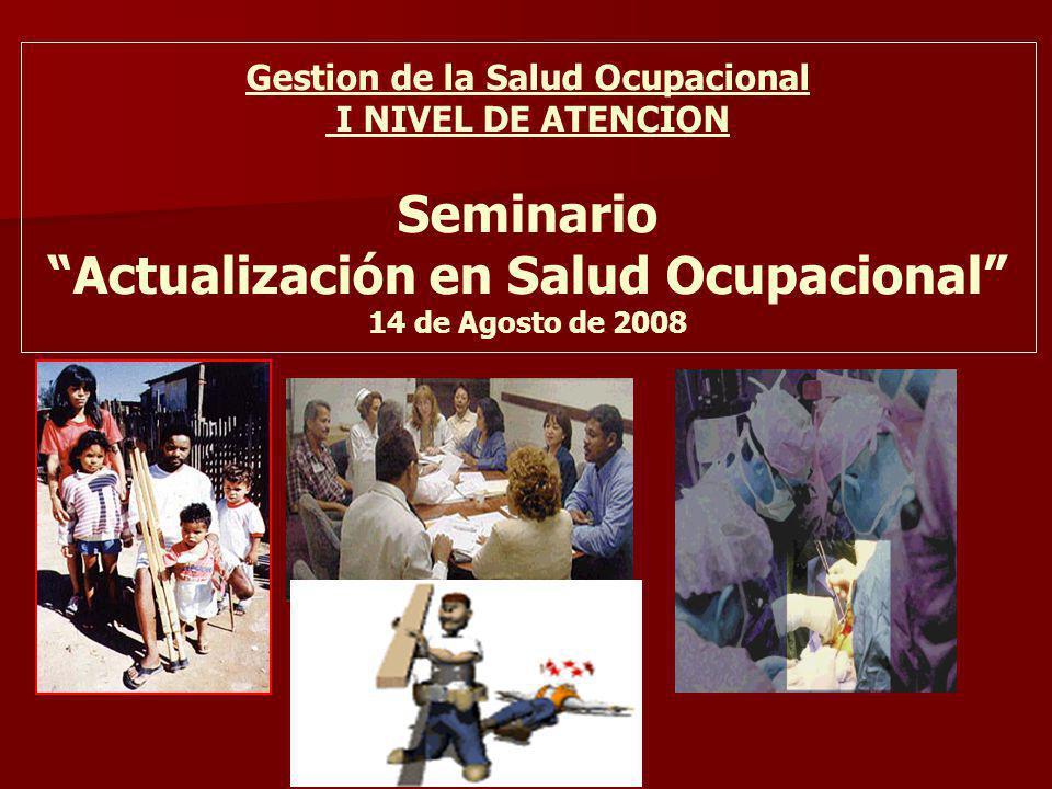 Gestion de la Salud Ocupacional I NIVEL DE ATENCION Seminario Actualización en Salud Ocupacional 14 de Agosto de 2008