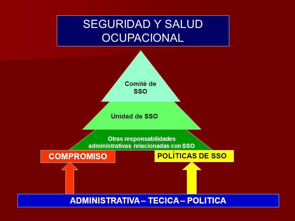 ADMINISTRATIVA – TECICA – POLITICA COMPROMISO POLÍTICAS DE SSO Otras responsabilidades administrativas relacionadas con SSO Unidad de SSO Comité de SSO SEGURIDAD Y SALUD OCUPACIONAL