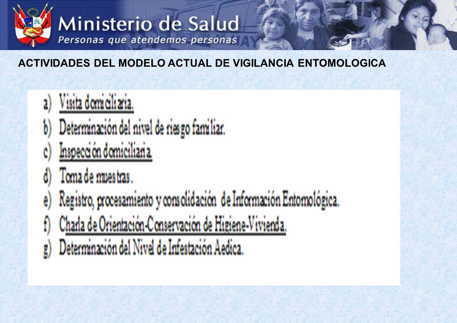ACTIVIDADES DEL MODELO ACTUAL DE VIGILANCIA ENTOMOLOGICA