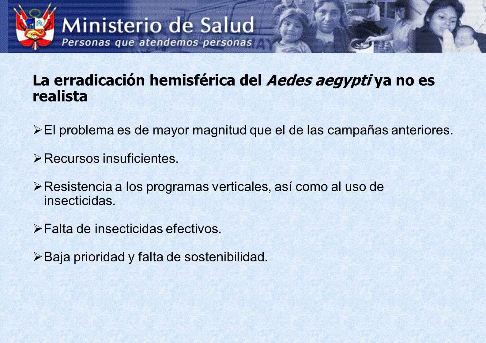 La erradicación hemisférica del Aedes aegypti ya no es realista El problema es de mayor magnitud que el de las campañas anteriores. Recursos insuficie