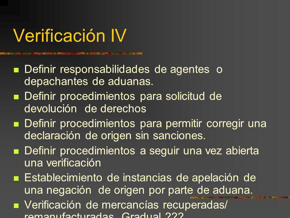 Verificación IV Definir responsabilidades de agentes o depachantes de aduanas. Definir procedimientos para solicitud de devolución de derechos Definir