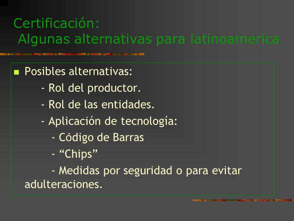Certificación: Algunas alternativas para latinoamerica Posibles alternativas: - Rol del productor. - Rol de las entidades. - Aplicación de tecnología: