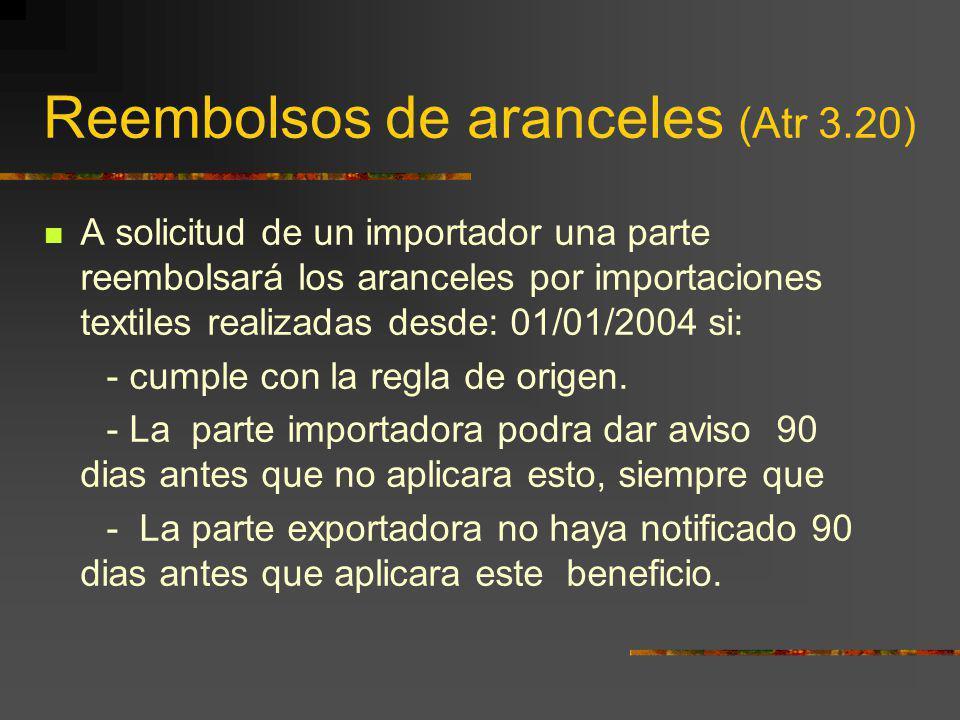 Reembolsos de aranceles (Atr 3.20) A solicitud de un importador una parte reembolsará los aranceles por importaciones textiles realizadas desde: 01/01