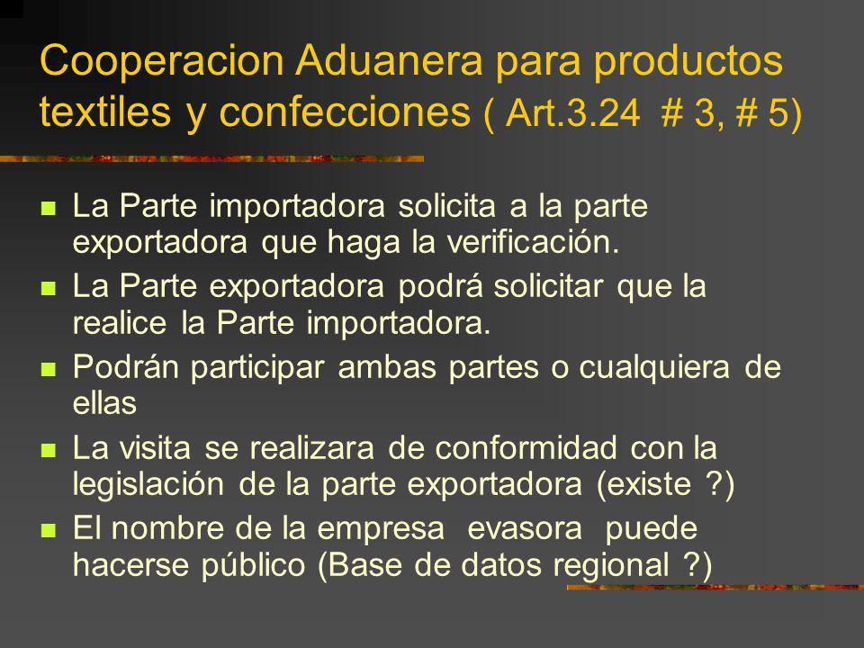 Cooperacion Aduanera para productos textiles y confecciones ( Art.3.24 # 3, # 5) La Parte importadora solicita a la parte exportadora que haga la veri