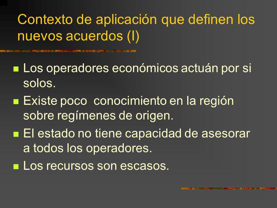 Contexto de aplicación que definen los nuevos acuerdos (I) Los operadores económicos actuán por si solos. Existe poco conocimiento en la región sobre