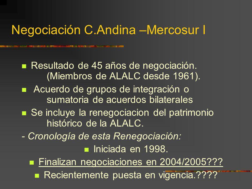 Negociación C.Andina –Mercosur I Resultado de 45 años de negociación. (Miembros de ALALC desde 1961). Acuerdo de grupos de integración o sumatoria de