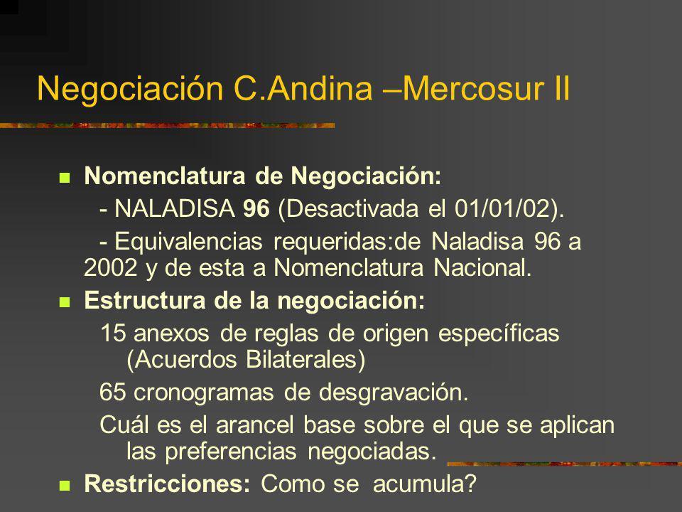 Negociación C.Andina –Mercosur II Nomenclatura de Negociación: - NALADISA 96 (Desactivada el 01/01/02). - Equivalencias requeridas:de Naladisa 96 a 20