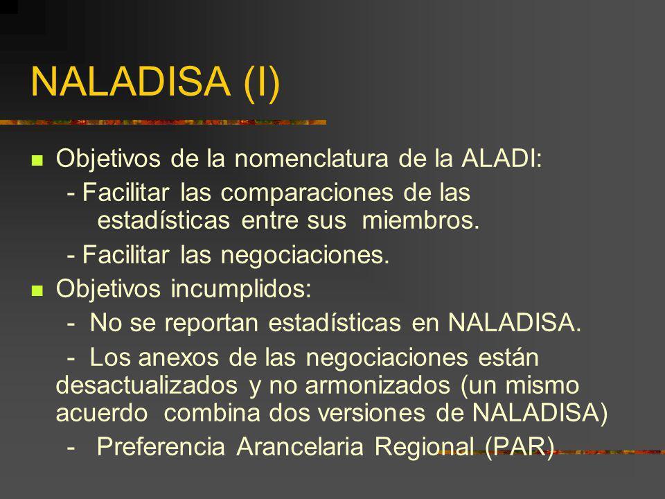 NALADISA (I) Objetivos de la nomenclatura de la ALADI: - Facilitar las comparaciones de las estadísticas entre sus miembros. - Facilitar las negociaci