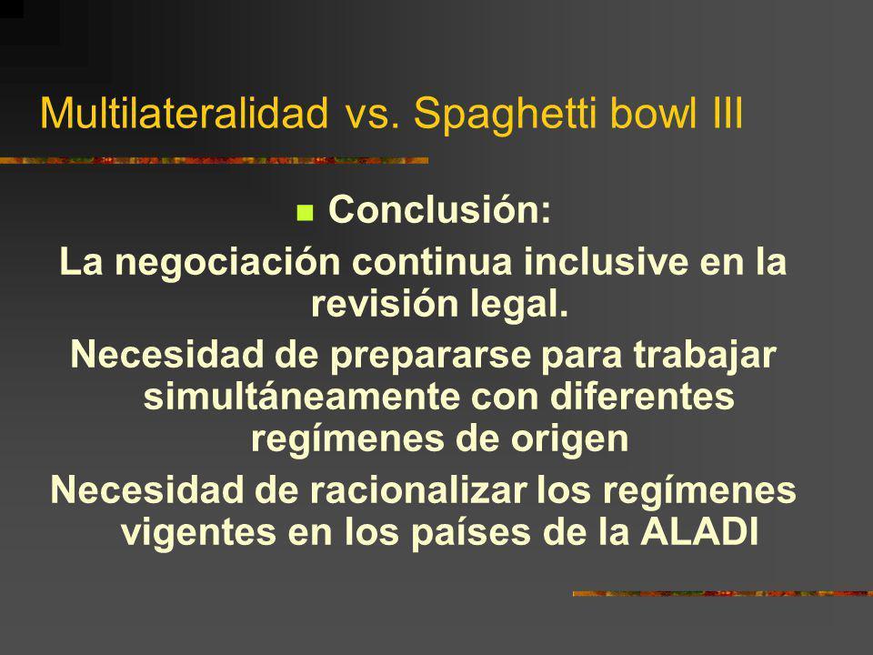 Multilateralidad vs. Spaghetti bowl III Conclusión: La negociación continua inclusive en la revisión legal. Necesidad de prepararse para trabajar simu