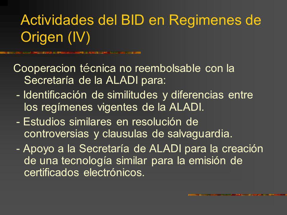 Actividades del BID en Regimenes de Origen (IV) Cooperacion t é cnica no reembolsable con la Secretaría de la ALADI para: - Identificación de similitu
