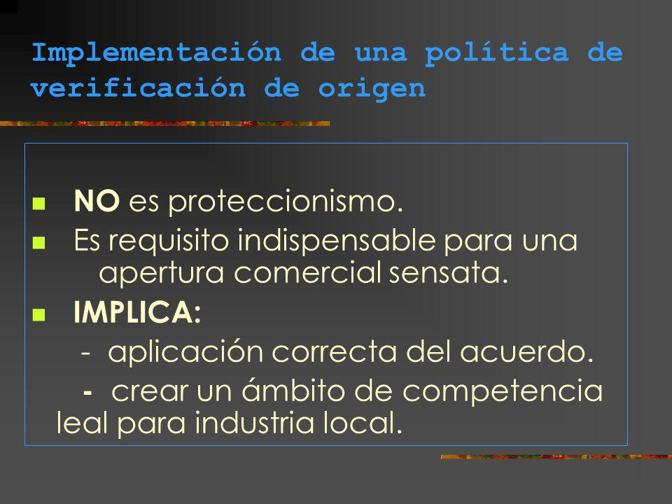 Implementación de una política de verificación de origen NO es proteccionismo. Es requisito indispensable para una apertura comercial sensata. IMPLICA