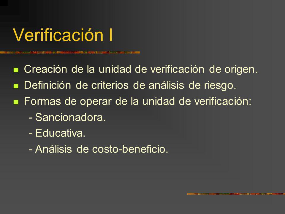 Verificación I Creación de la unidad de verificación de origen. Definición de criterios de análisis de riesgo. Formas de operar de la unidad de verifi