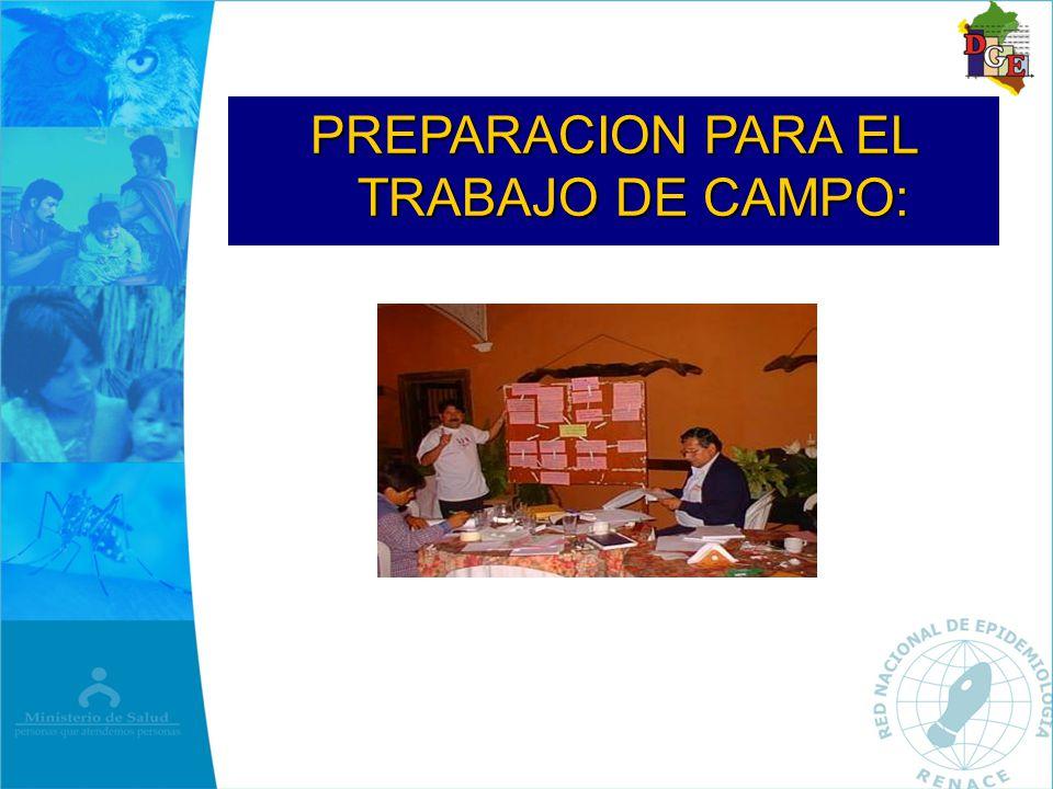 PREPARACION PARA EL TRABAJO DE CAMPO: