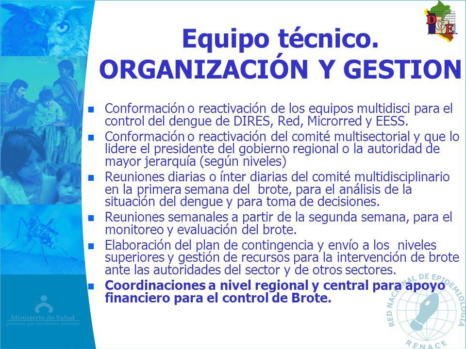 Equipo técnico. ORGANIZACIÓN Y GESTION n n Conformación o reactivación de los equipos multidisci para el control del dengue de DIRES, Red, Microrred y