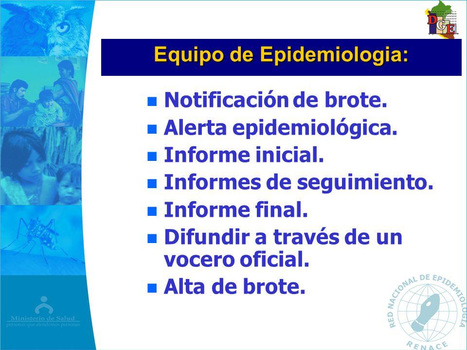 Equipo de Epidemiologia: Notificación de brote. n Alerta epidemiológica. n Informe inicial. n Informes de seguimiento. n Informe final. n Difundir a t