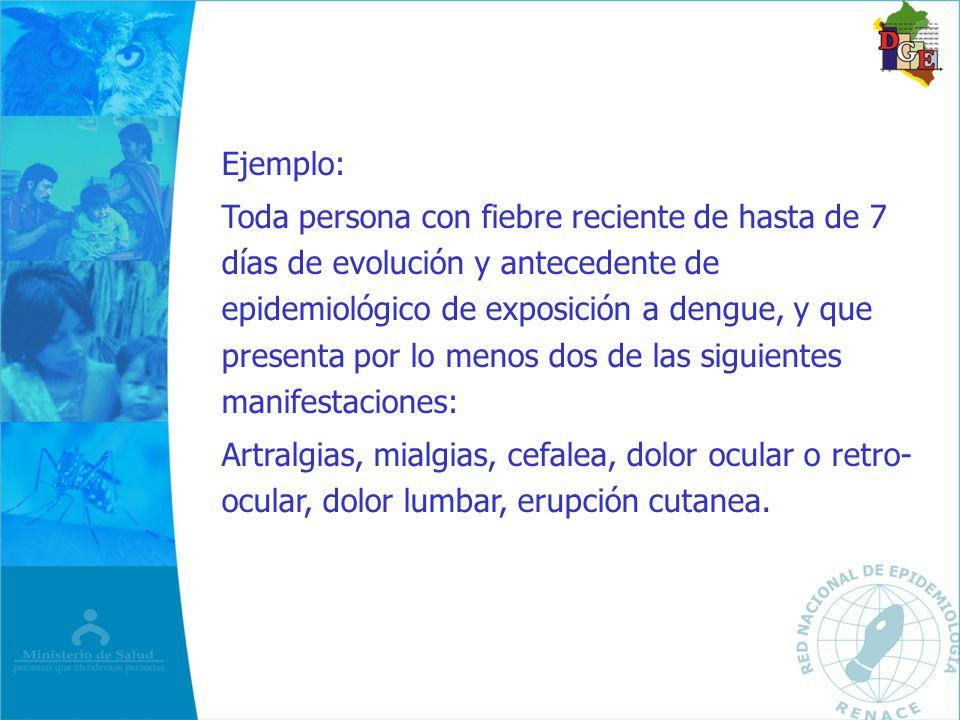 Ejemplo: Toda persona con fiebre reciente de hasta de 7 días de evolución y antecedente de epidemiológico de exposición a dengue, y que presenta por l