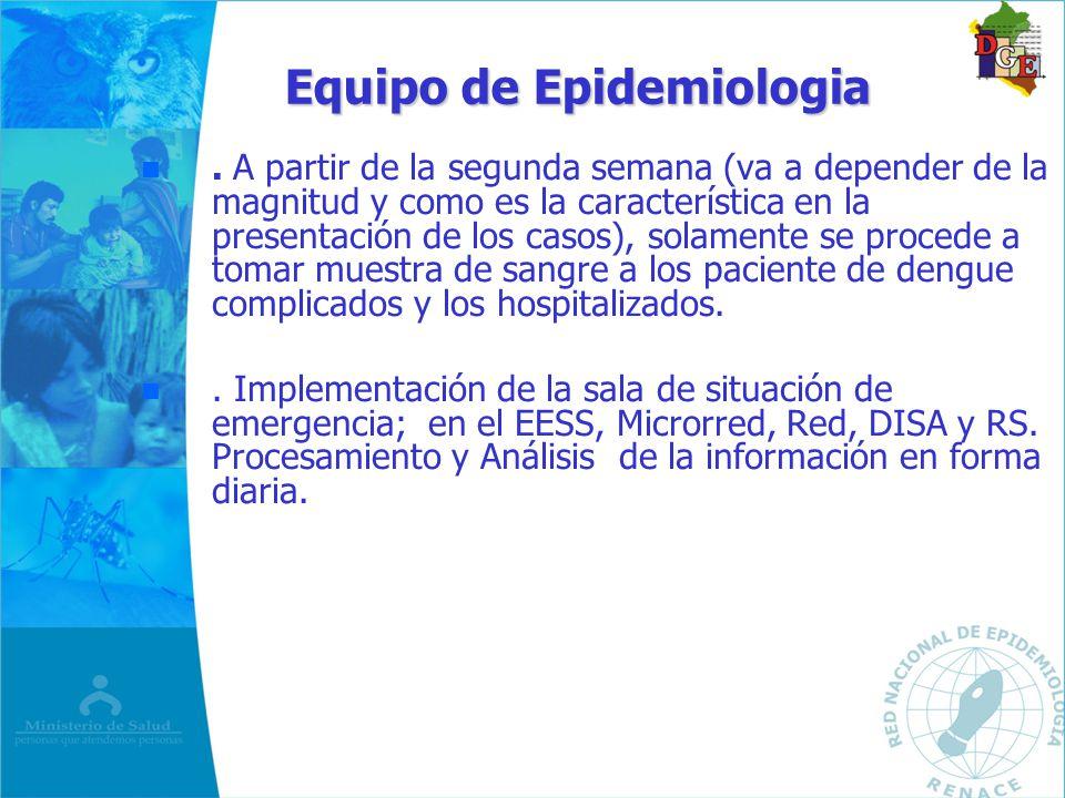Equipo de Epidemiologia n n. A partir de la segunda semana (va a depender de la magnitud y como es la característica en la presentación de los casos),