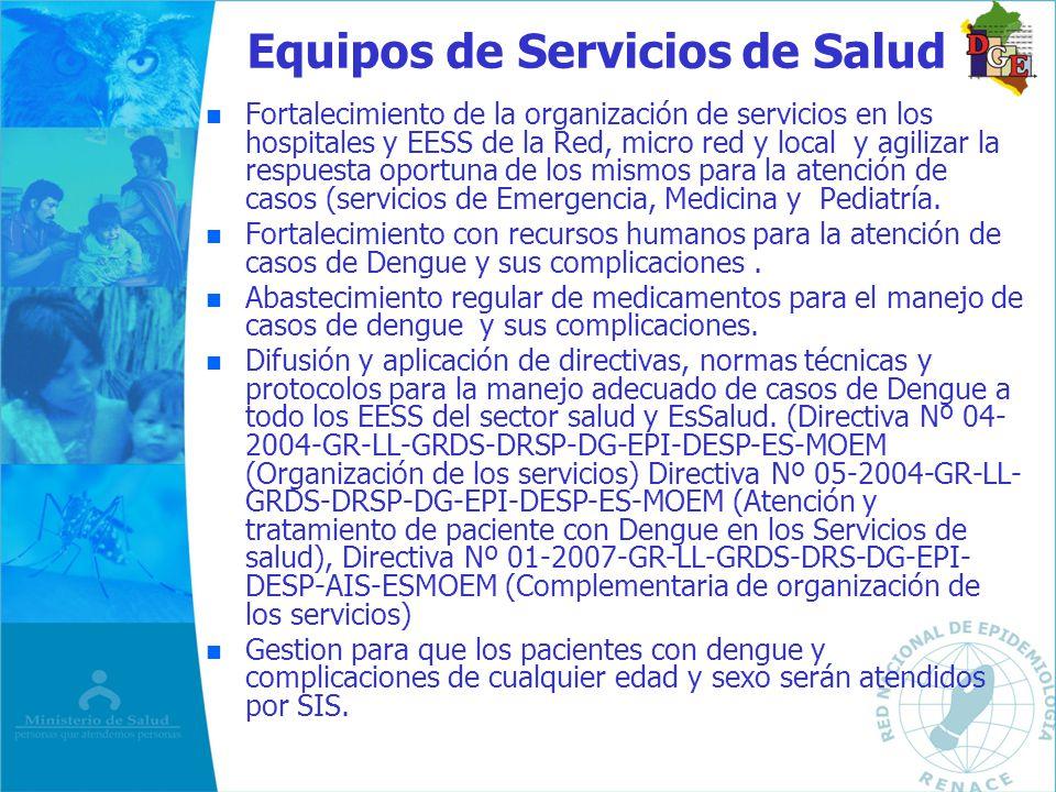Equipos de Servicios de Salud n n Fortalecimiento de la organización de servicios en los hospitales y EESS de la Red, micro red y local y agilizar la