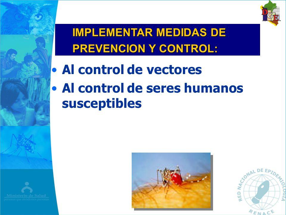 Al control de vectores Al control de seres humanos susceptibles IMPLEMENTAR MEDIDAS DE PREVENCION Y CONTROL: