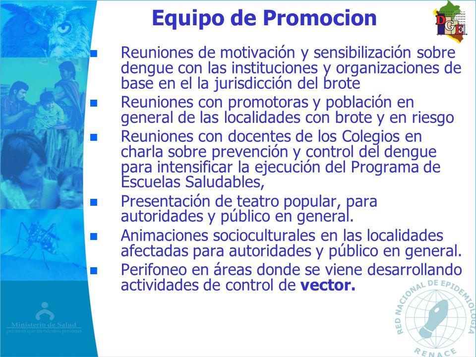 Equipo de Promocion n n Reuniones de motivación y sensibilización sobre dengue con las instituciones y organizaciones de base en el la jurisdicción de