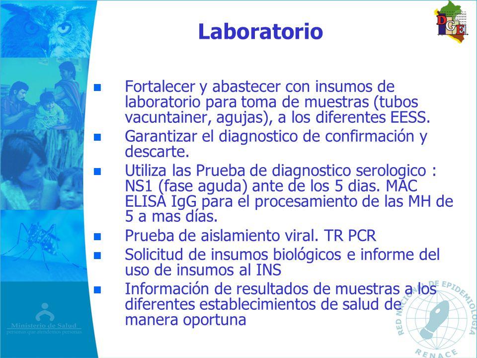 Laboratorio n n Fortalecer y abastecer con insumos de laboratorio para toma de muestras (tubos vacuntainer, agujas), a los diferentes EESS. n n Garant