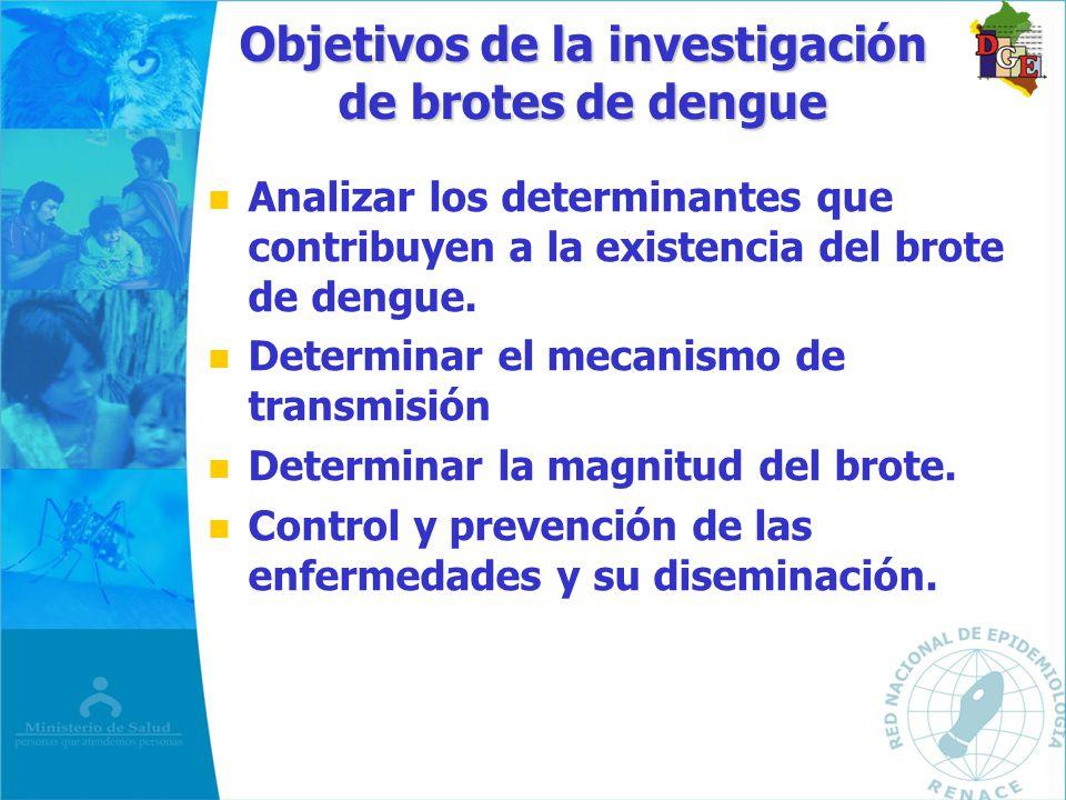 n n Analizar los determinantes que contribuyen a la existencia del brote de dengue. n n Determinar el mecanismo de transmisión n n Determinar la magni