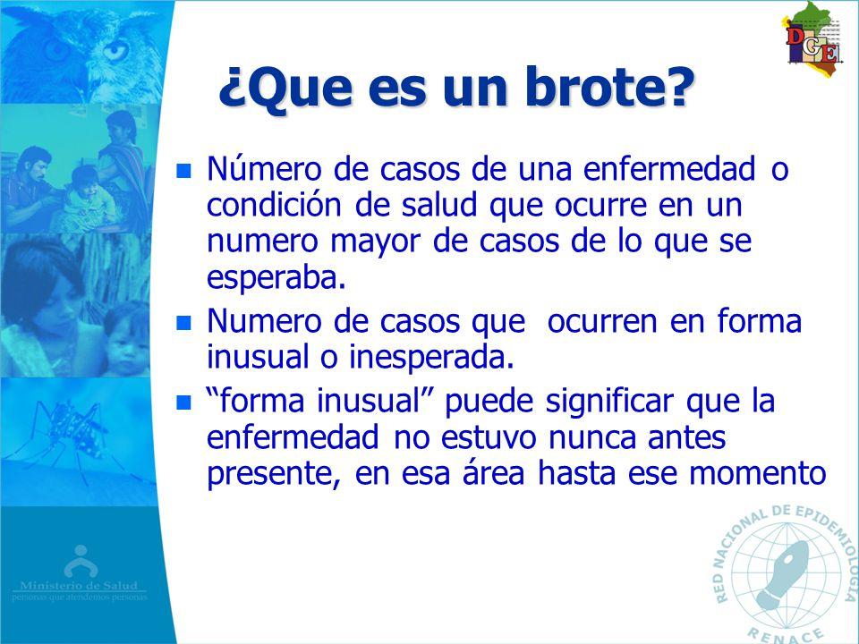 Brote y Epidemia n n Brote : Incremento de casos en una población pequeña con limites geográficos y de tiempo claramente definidas – –Brote de dengue en SJ de Lurigancho.