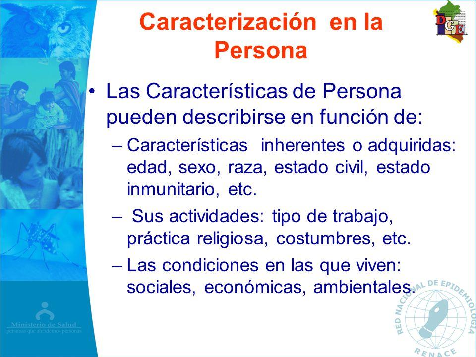 Las Características de Persona pueden describirse en función de: –Características inherentes o adquiridas: edad, sexo, raza, estado civil, estado inmu