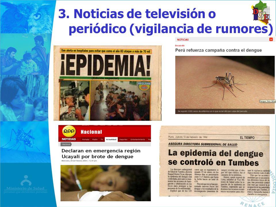 3. Noticias de televisión o periódico (vigilancia de rumores)