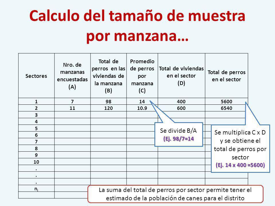 Calculo del tamaño de muestra por manzana… Sectores Nro. de manzanas encuestadas (A) Total de perros en las viviendas de la manzana (B) Promedio de pe