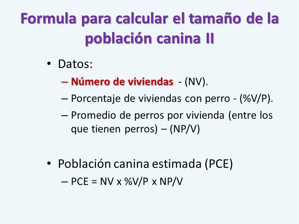 Formula para calcular el tamaño de la población canina II Datos: – Número de viviendas – Número de viviendas - (NV). – Porcentaje de viviendas con per