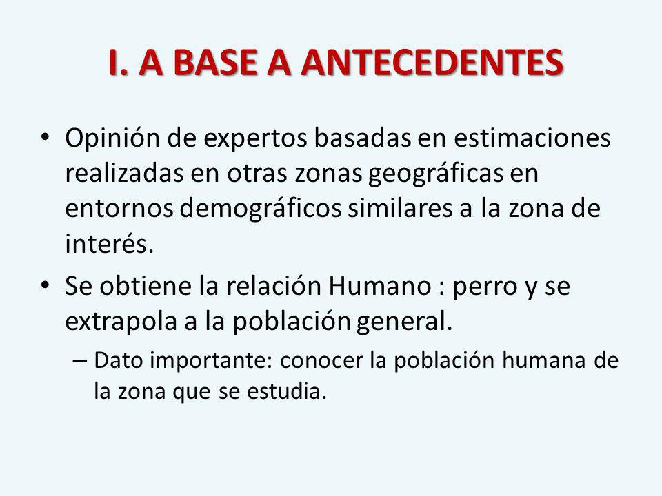 I. A BASE A ANTECEDENTES I. A BASE A ANTECEDENTES Opinión de expertos basadas en estimaciones realizadas en otras zonas geográficas en entornos demogr