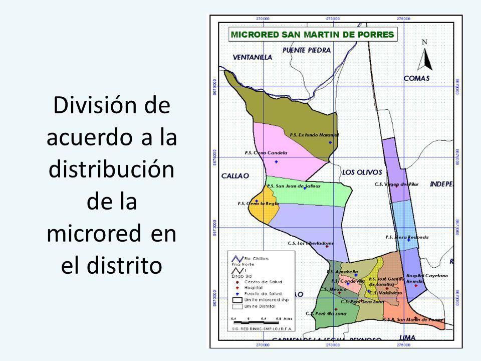 División del distrito según sectores catastrales