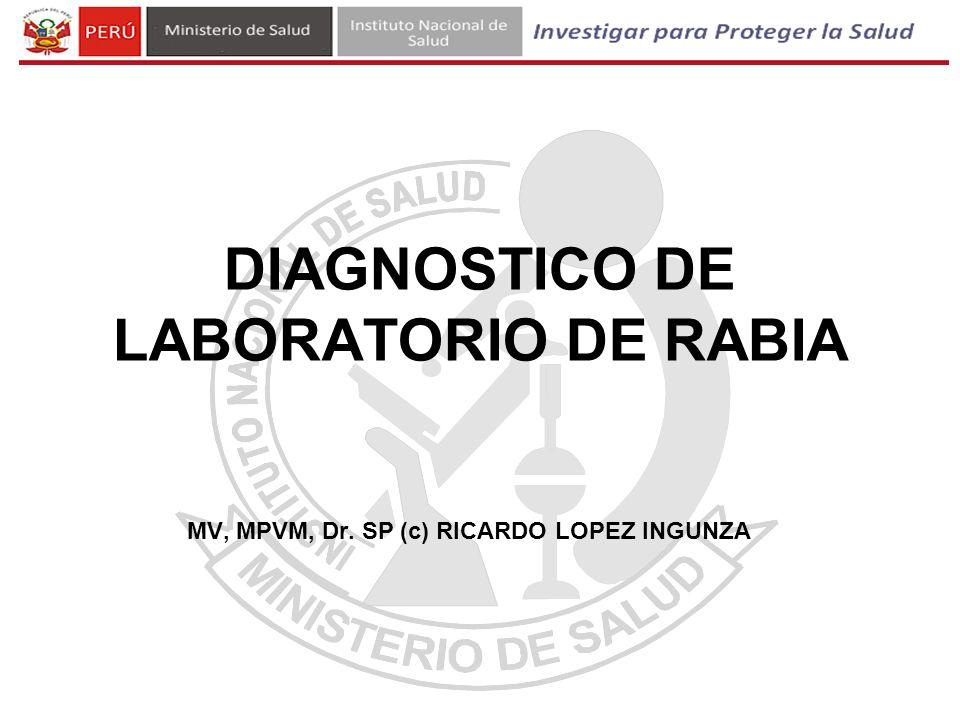 MV, MPVM, Dr. SP (c) RICARDO LOPEZ INGUNZA DIAGNOSTICO DE LABORATORIO DE RABIA