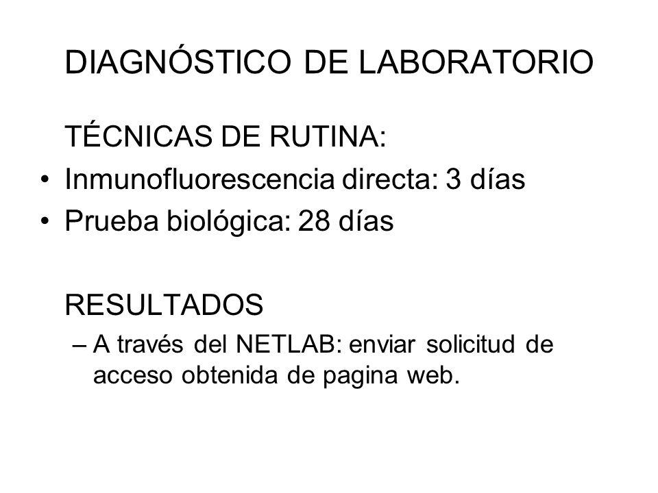 DIAGNÓSTICO DE LABORATORIO TÉCNICAS DE RUTINA: Inmunofluorescencia directa: 3 días Prueba biológica: 28 días RESULTADOS –A través del NETLAB: enviar s