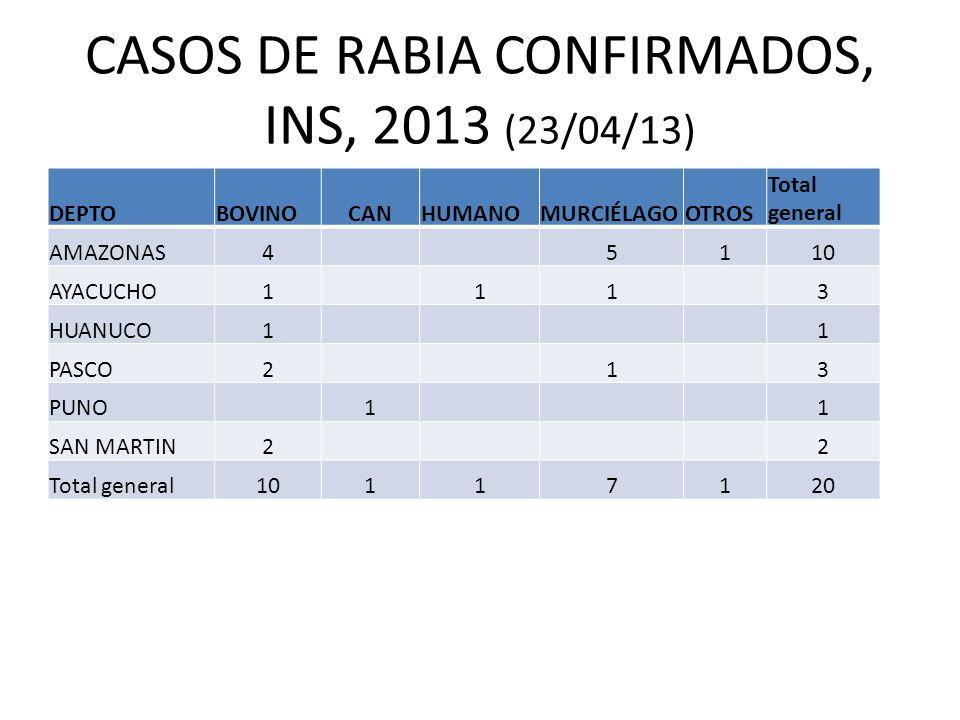 CASOS DE RABIA CONFIRMADOS, INS, 2013 (23/04/13) DEPTOBOVINOCANHUMANOMURCIÉLAGOOTROS Total general AMAZONAS45110 AYACUCHO1113 HUANUCO11 PASCO213 PUNO1