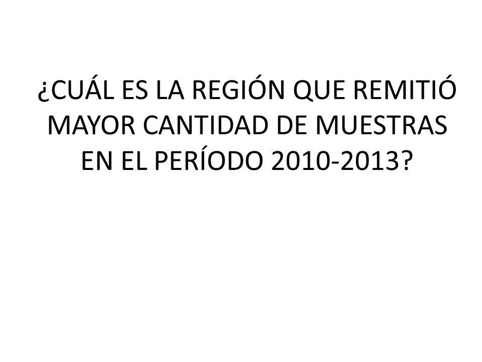 ¿CUÁL ES LA REGIÓN QUE REMITIÓ MAYOR CANTIDAD DE MUESTRAS EN EL PERÍODO 2010-2013?