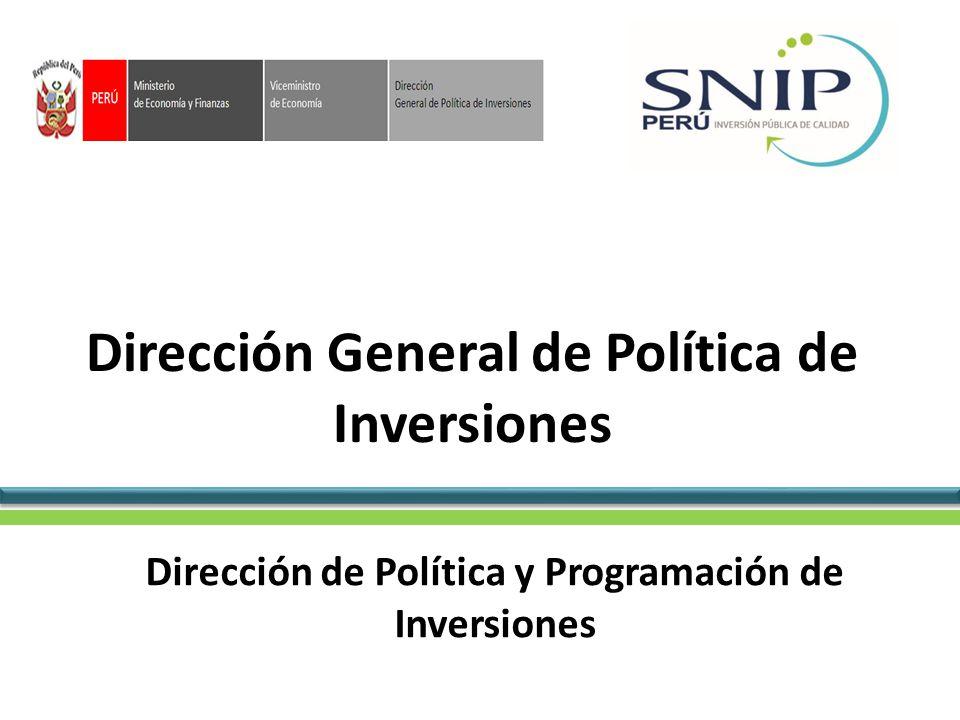 Dirección General de Política de Inversiones Dirección de Política y Programación de Inversiones