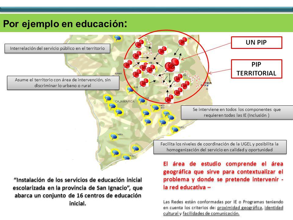Por ejemplo en educación : UN PIP PIP TERRITORIAL El área de estudio comprende el área geográfica que sirve para contextualizar el problema y donde se